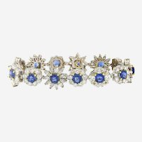 Fine Sapphire and Diamonds Vintage Bracelet