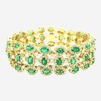 28.75 Carat Emeralds and Diamonds Wide Bracelet 18 Karat Yellow Gold