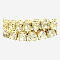 21 Carat Cushion Cut Natural Yellow Diamonds Bracelet 18k