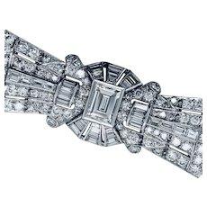 27 Carats Art Deco Diamond Platinum Bracelet
