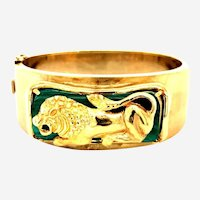 Vintage Malachite 14kt Gold Lion Bangle Bracelet, Circa 1960-70