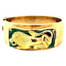 Vintage Malachite 14kt Gold Lion Bangle Bracelet, Circa 1960-70