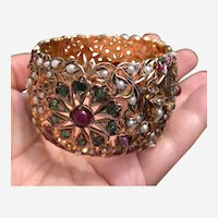 Vintage 9 kt Gold Ruby, Emerald & Pearls Wide Cuff Bangle Bracelet.