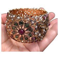 Vintage 9 kt Gold Ruby, Emerald & Pearls Wide Cuff Bangle Bracelet.