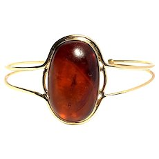 14kt Gold Cuff Amber with Insect inside, Vintage