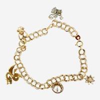 Vintage 14 kt Gold & Diamond Charms Bracelet