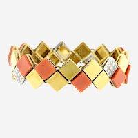 Van Cleef & Arpels 18k Yellow Gold Diamond Coral Square Links Bracelet, Circa 1960