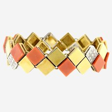 Van Cleef & Arpels 18k Yellow Gold Diamond Coral Square Links Bracelet, Circa 1960