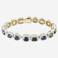 28.60 Carat Fancy Shape Sapphire & Halo Diamond Bracelet in 18K Gold