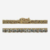 Vintage 5.75 ct Diamond Straight-Line Tennis Bracelet in 14k Yellow Gold.