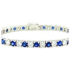 11.75 ct Sapphire & Diamond Tennis Bracelet 18kt Gold