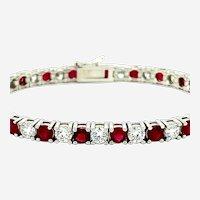 10.80 ct Ruby & Diamond Tennis Bracelet 14kt White Gold