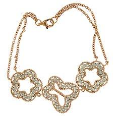 Chic 18kt Rose Gold Diamonds Cloverleaf and Butterfly Bracelet