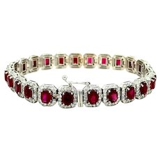 15.74 ct Red Ruby & Diamond Bracelet in 18kt White Gold