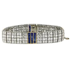 French 14 ct Diamonds & 5.76 ct Blue Sapphire Platinum 18 kt Art Deco Bracelet.