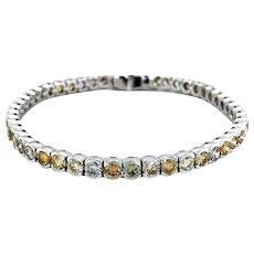 9cts Natural Fancy Color Diamond Tennis Bracelet 18kt Gold