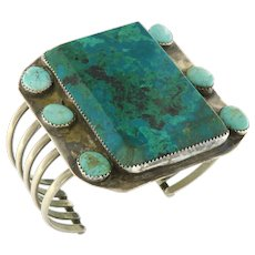Large Vintage Navajo Silver Turquoise Cuff Bangle Bracelet