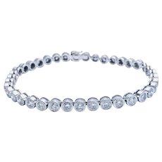 Opulent 18kt Gold 5.25 ct Fine Diamonds Bezel Straight-Line Bracelet, Italy.