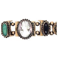 Vintage 14k Slide Bracelet / Cameo & Gems
