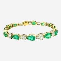 19.95 ct Fancy Shape Colombian Emeralds & Fancy Diamond Bracelet in 18kt 2-Tone Gold