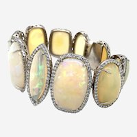 130 Carats Opal & Diamond Wide Bracelet 18K