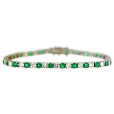8.50 ct Emerald & Diamonds Straight-Line Bracelet, 14 kt Gold