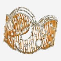 18 kt Gold & 8.75 ct Diamonds Italian Cuff Bracelet
