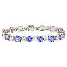 22.50 ct Tanzanite and 5.75 ct Diamond High-End 18kt Gold Bracelet