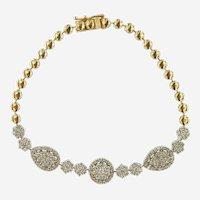 Fine 2.30 ct Diamonds 14kt White & Yellow Gold Bracelet