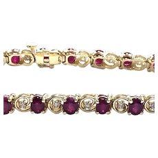 14kt Gold Ruby & Diamond Bracelet