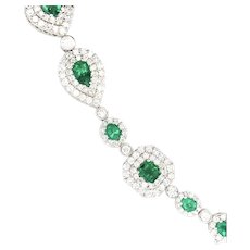 14.50cts Emerald & Diamonds Bracelet 18kt Gold