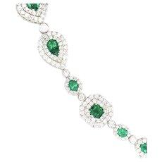 14.50cts Emerald & Diamonds Bracelet 18kt Gold