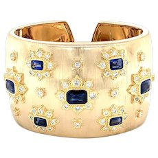 Sapphire  & Diamonds Cuff Bangle 18kt Gold