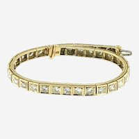 Vintage 7 ct Diamonds Straight-Line Bracelet in 14 kt Yellow Gold