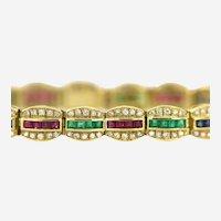 18kt Gold 6 ct Diamond ruby Sapphire Emerald Bracelet