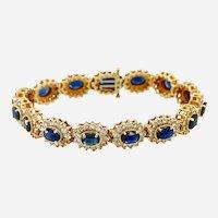 Vintage 14kt Gold Sapphire & Diamond Bracelet