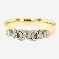 Retro 14kt Gold Bangle with Art Deco Platinum 2.50 ct Diamonds Earring/Charms