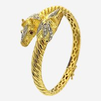 Horses Head 18K YG Bangle w/ Diamonds, Rubies  Circa 1970