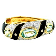 Vintage Aquamarine Diamonds Onyx 18kt Gold Bangle Bracelet, Circa 1970-80
