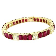 40.03 Carats Diamond & Ruby Bracelet 18kt