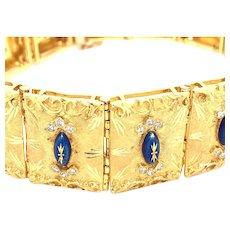 Impressive Diamond & Enamel 18kt Gold Bracelet.