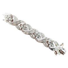 Vintage 5.50 ct Diamonds 14 kt White Gold Bracelet, Circa 1970's