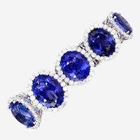 Kozi Collection 188 Carat Tanzanite & Diamond Bracelet 18kt Gold