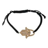 14kt Rose Gold Diamond Hamsa Good Luck Hand Bracelet, Black cord