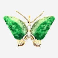 C. 1970 Vintage Jade & Diamonds Butterfly 14kt Gold Enhancer Pendant or Pin