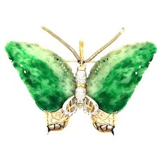 C. 1970 Vintage Jade & Diamonds Butterfly 14kt Gold Enhancer Pendant or Pin