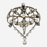 Antique Diamond Platinum and 14kt Gold Art Nouveau Brooch Pendant