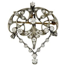 Antique Diamond Platinum and 14kt Gold Art Nouveau Brooch Pendant