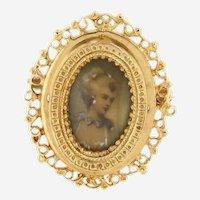 Victorian 14kt Gold Enameled Portrait Brooch or Pendant