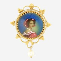 Victorian Enamel Portrait  14kt Yellow Gold Brooch or Pendant